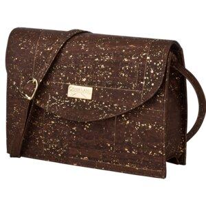 Handtasche/Tasche aus Kork - CorkLane - Peta zertifiziert VEGAN - Korkoberfläche in Braun und Gold - Corklane