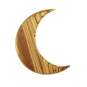 Fensterschmuck Mond groß aus Olivenholz - Mitienda Shop