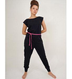 Jumpsuit Overall schwarz versch. Kordeln aus Bio-Jersey - Lena Schokolade