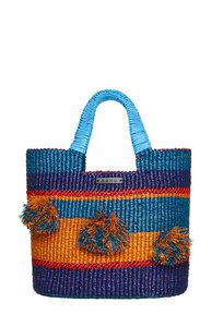"Shopper ""Oroo"" große Tasche aus Bast dunkelblau - AAKS"