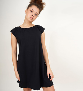 Kurzarm Kleid Schwarz aus Bio-Jersey - Lena Schokolade