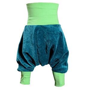 Yogahose Pumphose liebewicht Bio Nicki petrol Bündchenfarbe nach Wahl - liebewicht