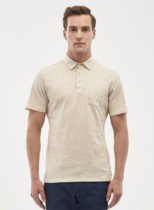 Poloshirt aus Leinen-Bio-Baumwolle-Mix mit Brusttasche - ORGANICATION