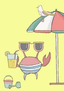 Poster Krabbe macht Urlaub - Eykaffee