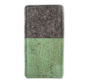 Handytasche aus Wollfilz und grünem bzw. dunkelrotem Kork  - 11-lein