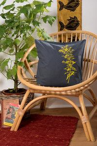Bio-Kissenbezug 'Goldraute' dunkelgrau, 40*40 cm - Hirschkind