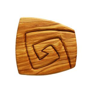 Topfuntersetzer aus Holz 2-teilig | Spiralform eckig - Mitienda Shop