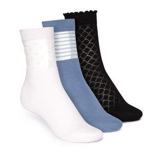 Socken Mittelhoch Schwarz Blau Hellrosa 3er Pack Bio Fair - THOKKTHOKK