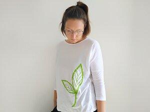 Dreiviertelarm-Shirt mit großem Biyoga-Blatt gedruckt - Biyoga