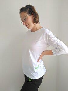 Dreiviertelarm-Shirt mit kleinem Biyoga-Blatt gestickt - Biyoga