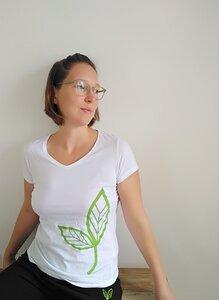 T-Shirt V-Ausschnitt großes Blatt Biobaumwolle - Biyoga