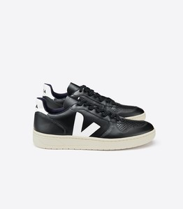 Sneaker Damen - V-10 Leather - Black White White-Sole - Veja