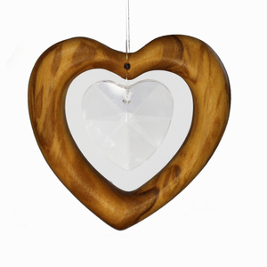 Fensterschmuck Herz aus Holz | Herz mit Bleikristall - Mitienda Shop
