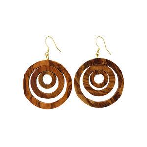Ohrringe aus Holz | Ohrschmuck drei Ringe - Mitienda Shop