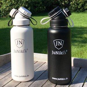 Partner-Set zum Sparpreis: Exklusive JuNiki´s Trinkflaschen XL aus Edelstahl Vakuum-isoliert 1L/32oz – limitierte Sondereditionen - JN JuNiki's