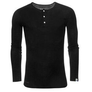 Herren Merino Henley-Rib-Shirt mit Knopfleiste Langarm Slimfit 200 - Kaipara - Merino Sportswear