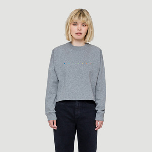 Spacing Cropped Sweater Grau - Rotholz