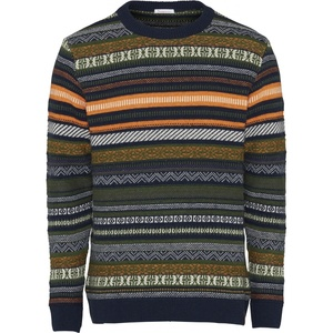 Strickpullover - Multi colored jacquard o-neck knit - GOTS - KnowledgeCotton Apparel