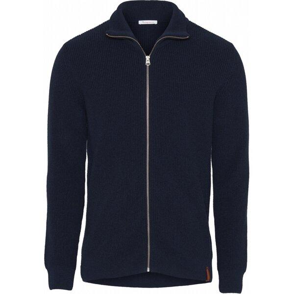 Strickjacke aus Bio Wolle Rib knit zip cardigan GOTS