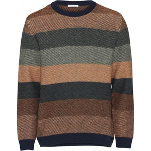 Strickpullover aus Bio-Wolle - Multi colored striped o-neck knit - GOTS - KnowledgeCotton Apparel