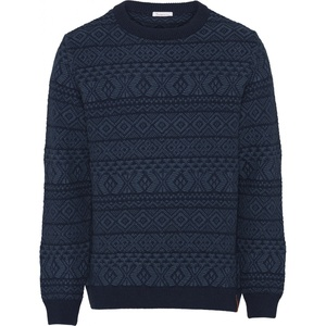 Strickpullover aus Bio-Wolle - Two colored jacquard o-neck knit - GOTS - KnowledgeCotton Apparel