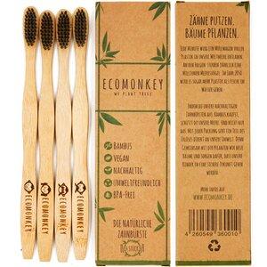 Bambus Zahnbürste - Nachhaltig, vegan, weiche Borsten, plastikfrei, 4x - ECOMONKEY