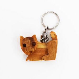 Schlüsselanhänger aus Holz - Katze - Mitienda Shop