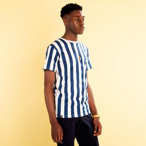 T-Shirt - Big Stripes - Weiß Blau  - DEDICATED