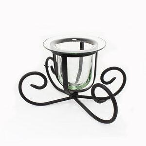 Deko Glas | Windlicht | Kerzenhalter aus Glas und Eisen | Blumenvase | Fensterdeko - Mitienda Shop