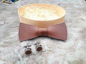Fliege aus Leder mit passenden Manschettenknöpfen - Süßstoff