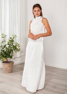 Abendkleid lang - Festkleid ärmellos mit Kragen, Maxikleid mit Taschen - SinWeaver alternative fashion
