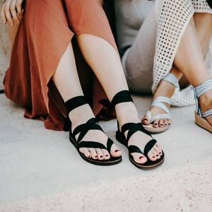 Sandalen zum Binden aus Leder - Braune Sohle - Kinfolkz