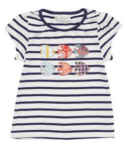Baby T-Shirt blau u. rot geringelt Bio - sense-organics
