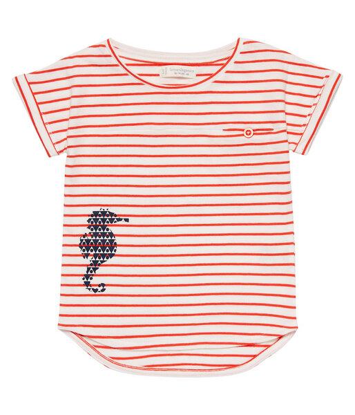 Mädchen T-shirt Rot Geringelt Bio Baumwolle
