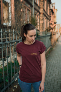 "Bio Faires Frauen T-Shirt ""goldene Libelle""  - ilovemixtapes"