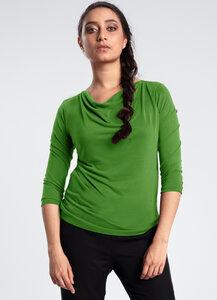 3\4 Shirt aus Baumwolle mit Wasserfall Ausschnitt - LASALINA
