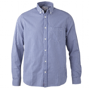 KnowledgeCotton Bio Hemd Poplin Shirt Oxford Karo blau - KnowledgeCotton Apparel