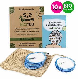 10 Abschminkpads BIO-Baumwolle waschbar inkl. Wäschenetz & Guide - EcoYou