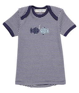 Jungen T-Shirt blau u. koralle geringelt Biologisch - sense-organics