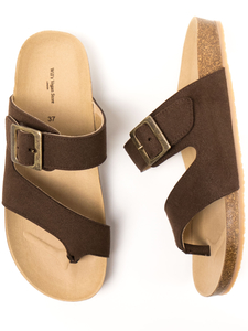 Two Strap Toe Peg Sandals Dunkelbraun Veganes Wildleder Damen - Will's Vegan Shop
