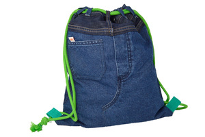 Unikat: Gymbag Green Spleen - Turnbeutel aus Jeans - Second Hound