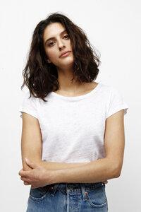 JUJUBA, Meliertes Leinen T-Shirt für Frauen - Green-Shirts