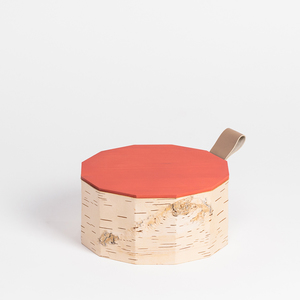 Keksdose aus Birkenrinde mit Holzdeckel und Lederschlaufe: ø19x10cm - MOYA Birch Bark