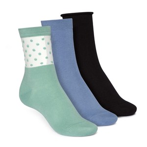 Socken Mittelhoch Schwarz Blau Grün 3er Pack Bio Fair - ThokkThokk