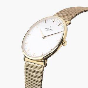 Armbanduhr NativeGold | Weißes Ziffernblatt - Mesharmband - Nordgreen Copenhagen