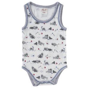 Baby Body ärmellos weiß bedruckt Bio Baumwolle - People Wear Organic