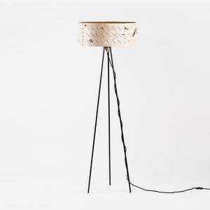 Stehlampe aus Birkenrinde mit schwarzem Metallgestell / ø50cm - MOYA Birch Bark