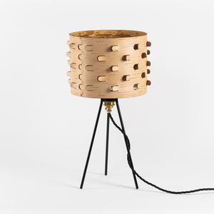 Nachttischlampe aus Birkenrinde mit schwarzem Metallgestell / ø25cm - MOYA Birch Bark