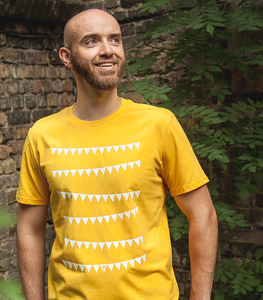 Wimpelkette - Fair Wear Männer T-Shirt - Gelb - päfjes