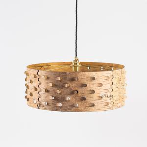 Esszimmerlampe aus natürlicher Birkenrinde mit Messingfassung / ø50cm - MOYA Birch Bark